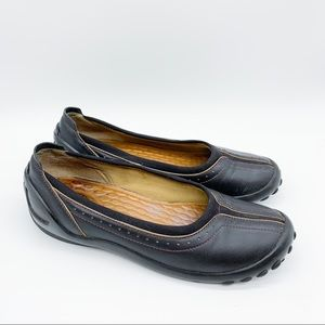 Clark's PRIVO black leather casual flats, 7.5.